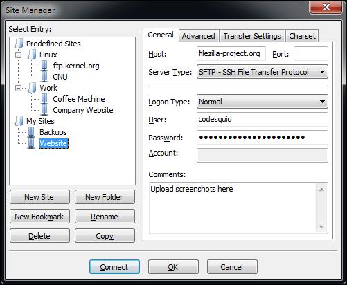 FileZilla sitemanager
